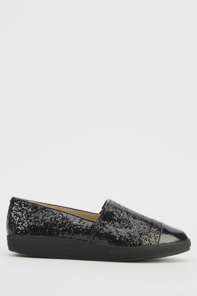 Contrast Glitter Court Shoes