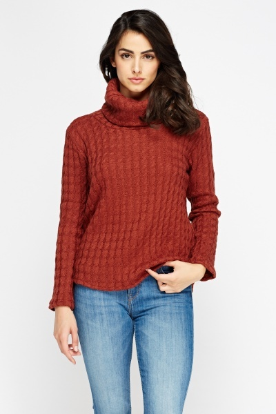 Cable Knit Dip Hem Jumper