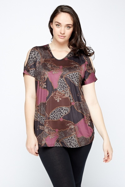 Cold Shoulder Mixed Print Top