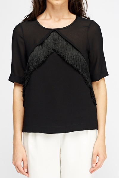 Fringed Front Black Top
