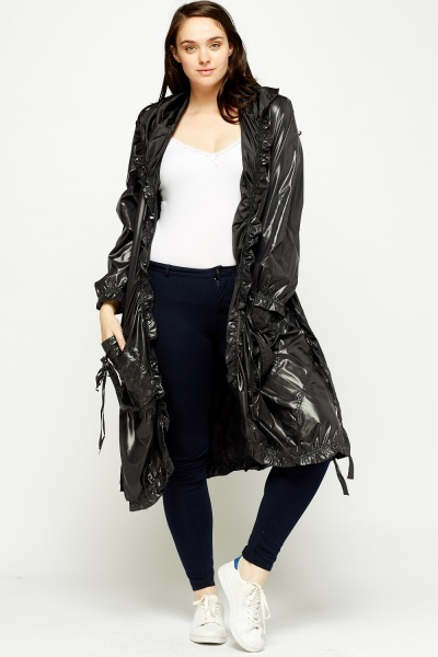 Ruched Trim Hooded Long Jacket