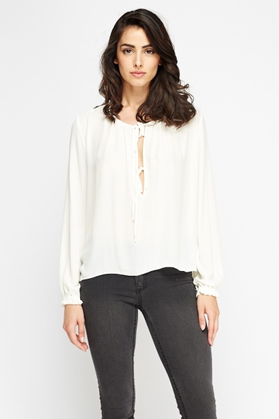 Tie Up Front Cream Blouse