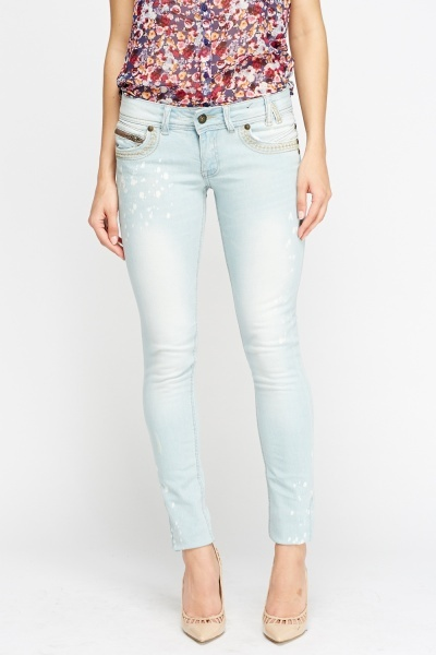Washed Light Denim Jeans