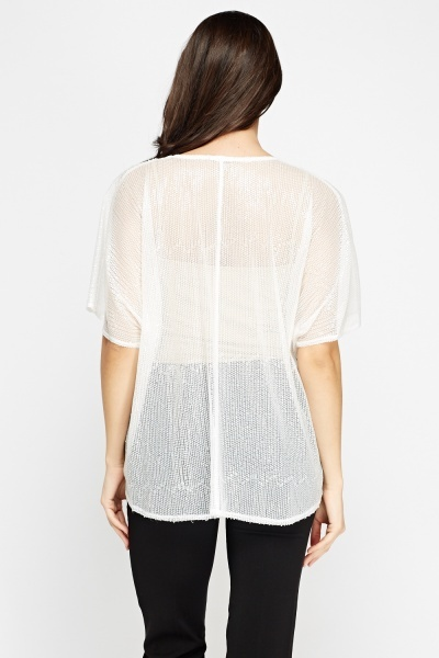 White Sequin Box Top