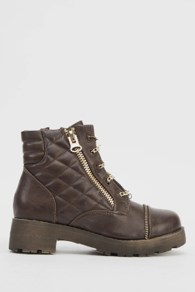 Chain Lace Up Biker Boots