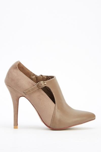 Cut Out Faux Leather Ankle Heels