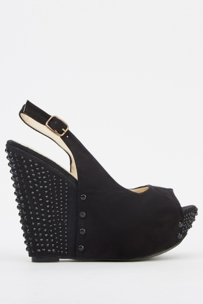 Encrusted Contrast Sandal Wedge