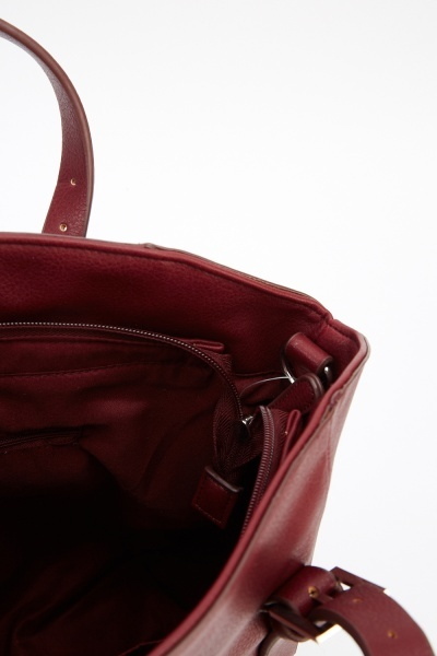 Maroon Faux Leather Bag