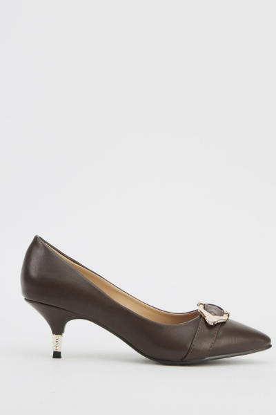 Metallic Heel Pointed Shoes