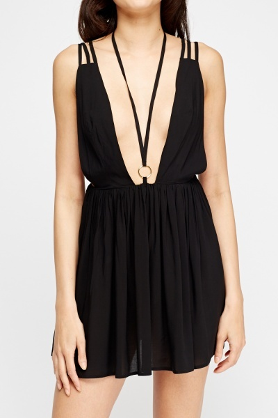Black Plunge Mini Dress