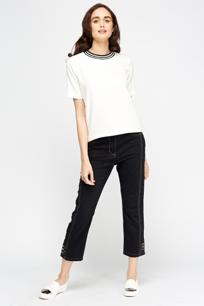 Button Detailed Black Jeans