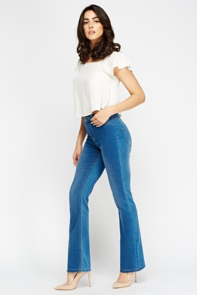 Denim Flared Hem Jeans