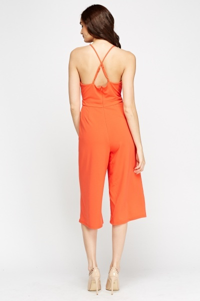 Orange Cropped Jumpsuit