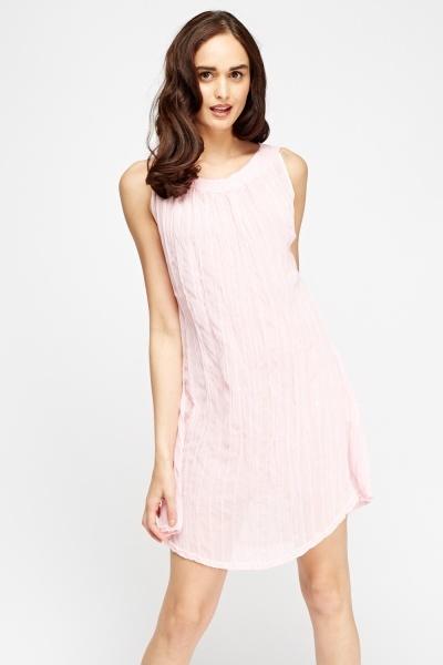 Image of Pink Crinkled Mini Dress