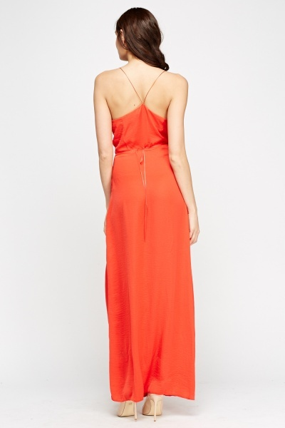 Red Wrap Maxi Dress