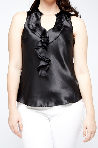 Ruffled Neck Satin Top