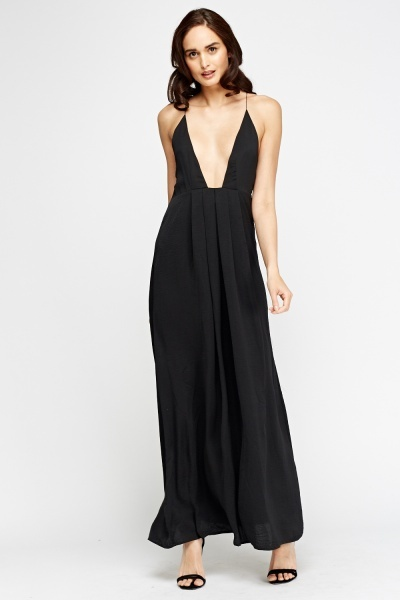 Spaghetti Strap Plunge Maxi Dress