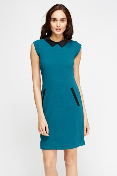 Teal Collared Shift Dress