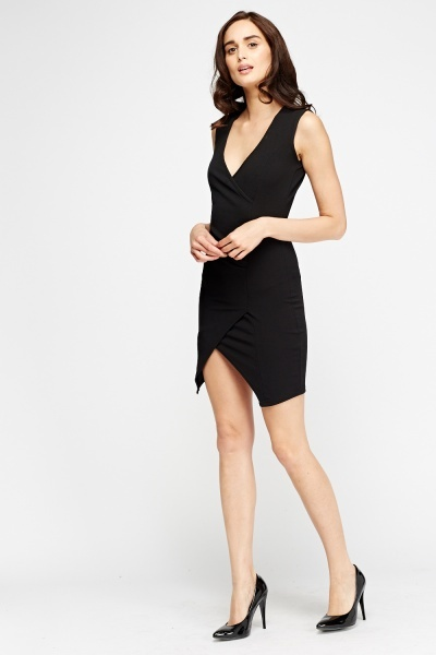 Wrap Ruched Bodycon Dress