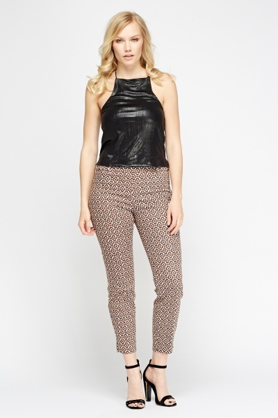 Brown Multi Print Cigarette Trousers
