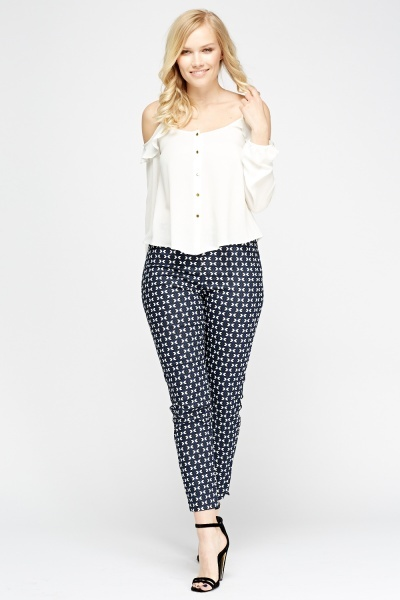 Navy Printed Cigarette Trousers
