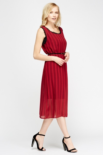 Wine Lace Trim Shift Dress