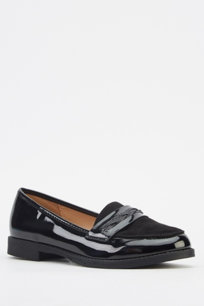 Contrast Black Loafers