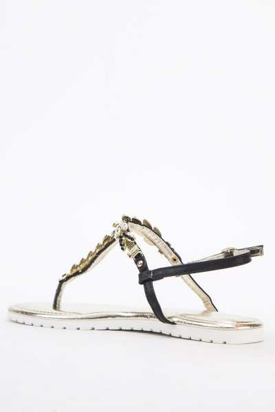 Embellished Flip Flop Sandals
