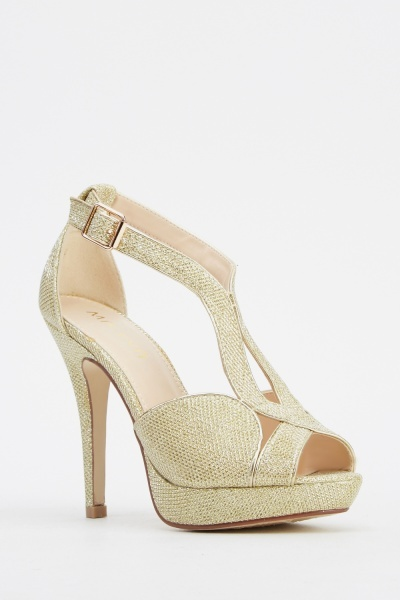 Lurex Cut Out Heeled Sandals