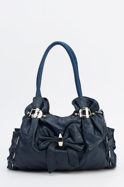 Metal Detailed Faux Leather Bag