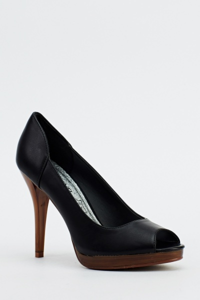 Peep Toe Faux Leather Heels