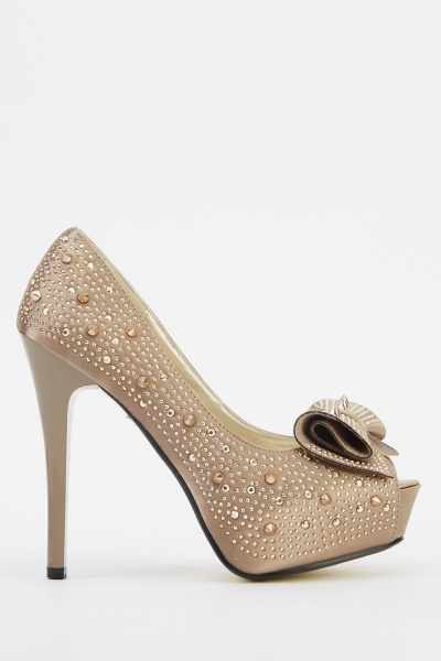 Studded Bow Satin Heels