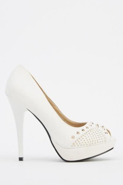 Studded Faux Leather Heels