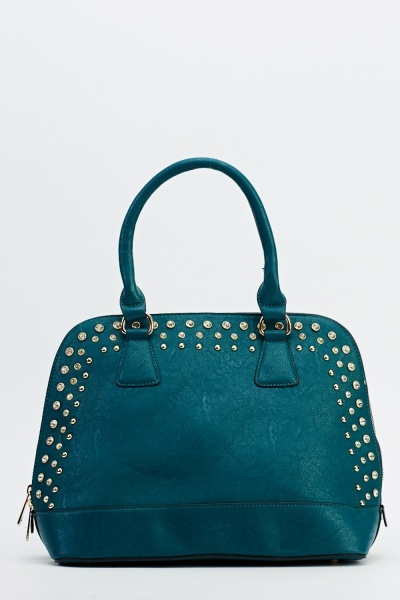 Studded Trim Faux Leather Bag