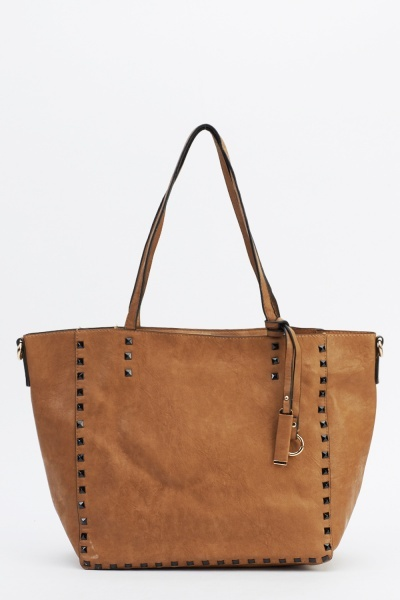 Studded Trim Faux Leather Tote Handbag