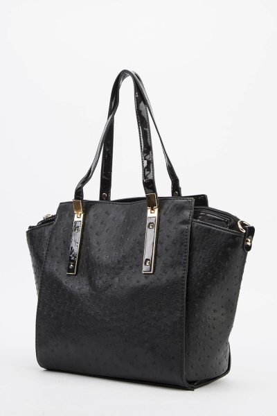 Textured Faux Leather Winged Handbag