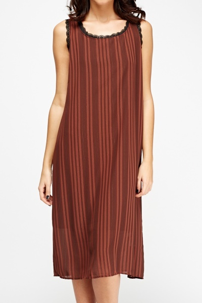 Brown Striped Shift Dress