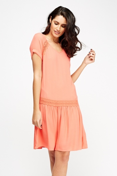 Coral Crochet Trim Shift Dress