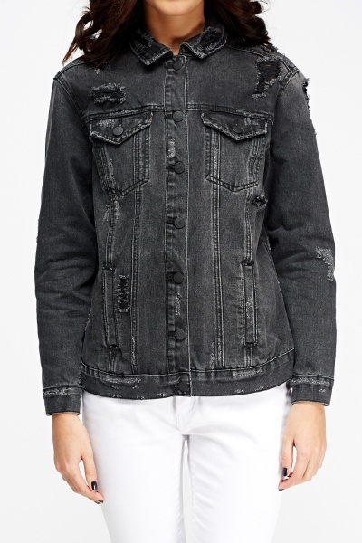 Distressed Black Denim Jacket