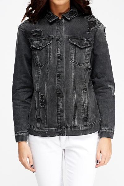 Distressed Black Denim Jacket Just 163 5