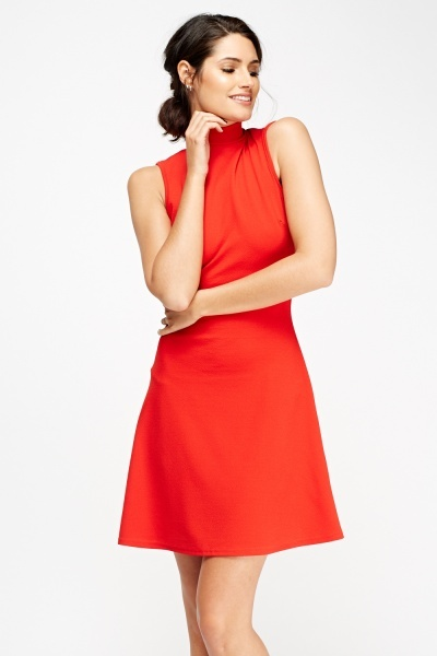 High Neck Tie Back Dress