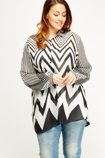 Mono Printed Sheer Blouse