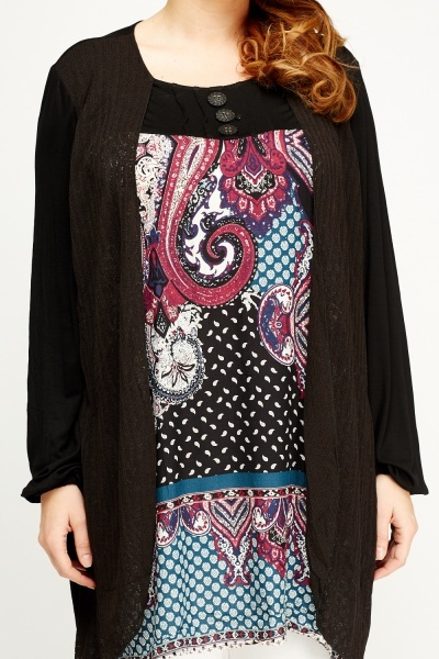 Paisley Print Contrast Overlay Top
