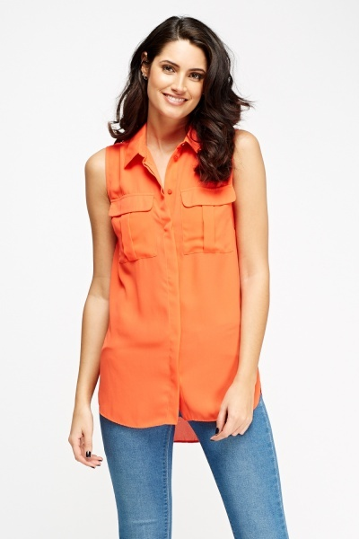 Sheer Twin Pocket Sleeveless Blouse