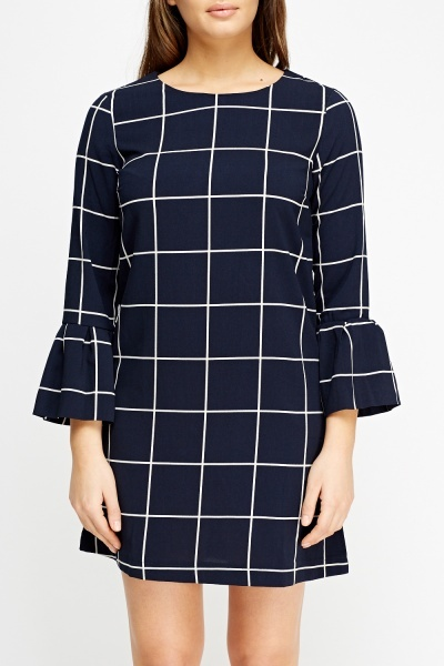 Checked Flare Sleeve Dress