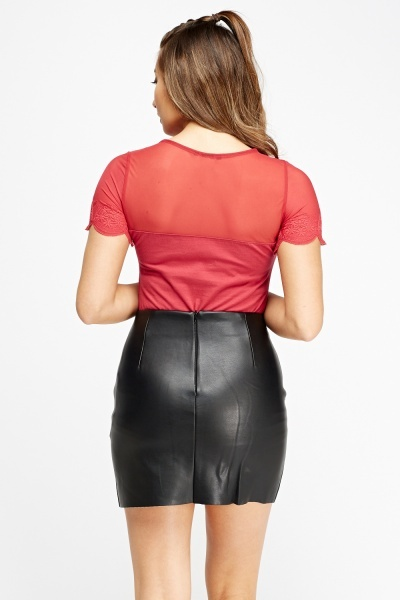 Faux Leather Zipped Mini Skirt