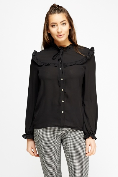 Frilled Sheer Blouse