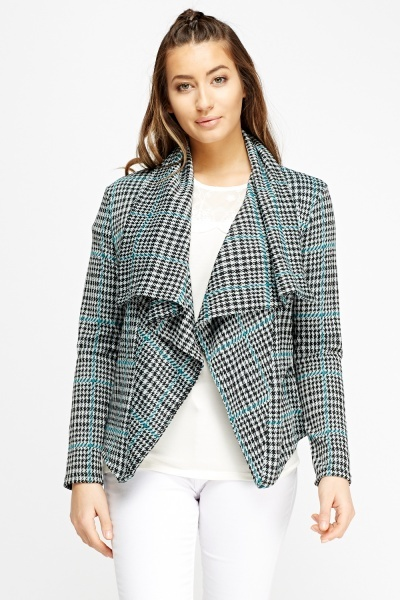 Image of Houndstooth Asymmetric Cardigan
