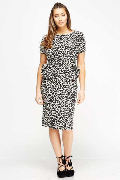 Leopard Print Peplum Dress