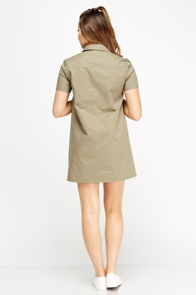 Olive Patched Shirt Dress